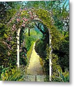 Floral Arch And Path Metal Print