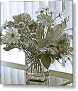 Floral Arrangement With Blinds Reflection Metal Print
