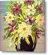 Floral Delight Acrylic Painting Metal Print