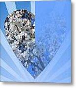Floral Half Heart Metal Print