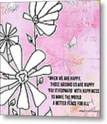 Floral Typography Word Art Quote Flowers And Butterflies By Megan Duncanson Metal Print
