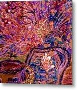 Floral With Gold Leaf On Vase Metal Print