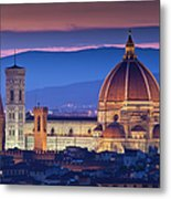 Florence Catherdral Duomo And City From Metal Print
