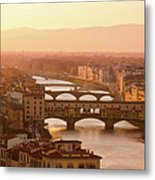 Florence City During Golden Sunset Metal Print