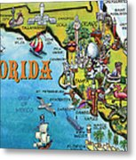 Florida Cartoon Map Metal Print