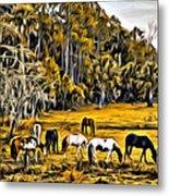 Florida Horses Two Metal Print