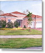 Florida House Watercolor Portrait Metal Print