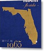 Florida International University Panthers Miami College Town State Map Poster Series No 038 Metal Print