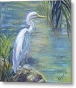 Florida Keys Egret Metal Print