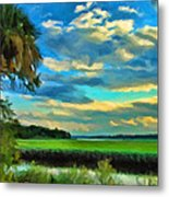 Florida Landscape With Palms Metal Print