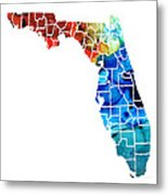 Florida - Map By Counties Sharon Cummings Art Metal Print