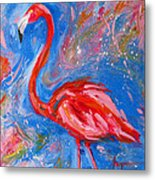Florida Pink Flamingo - Modern Impressionist Art Metal Print