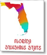Florida State Map Collection 2 Metal Print