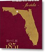 Florida State University Seminoles Tallahassee Florida Town State Map Poster Series No 039 Metal Print