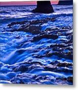 Flow - Dramatic Sunset View Of A Sea Stack In Davenport Beach Santa Cruz. Metal Print