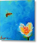 Flower And A Bee Metal Print