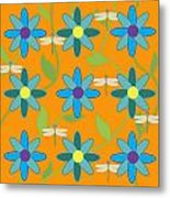 Flower And Dragonfly Design With Orange Background Metal Print