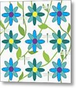 Flower And Dragonfly Design With White Background Metal Print