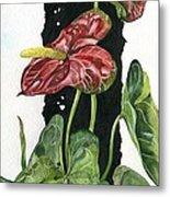 Flower Anthurium 01 Elena Yakubovich Metal Print by Elena Yakubovich