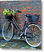Flower Basket Bicycle Metal Print