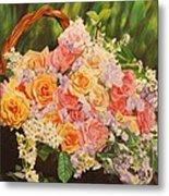 Flower Basket Metal Print