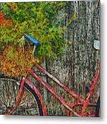 Flower Basket On A Bike Metal Print