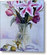 Flower Bouquet With Teapot And Fruit Metal Print
