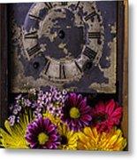 Flower Clock Metal Print