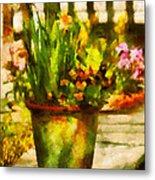 Flower - Daffodil - A Pot Of Daffodil's Metal Print by Mike Savad