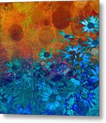 Flower Fantasy In Blue And Orange  Metal Print by Ann Powell