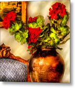 Flower - Geraniums On A Table  Metal Print by Mike Savad