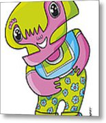 Flower Girl Doodle Character Metal Print by Frank Ramspott