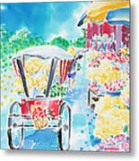 Flower Market  In Chiang Mai Metal Print