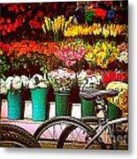 Flower Market With Bike Metal Print
