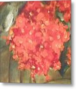 Flower On The Wall Metal Print