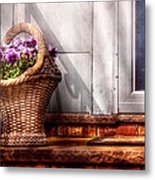 Flower - Pansy - Basket Of Flowers Metal Print by Mike Savad