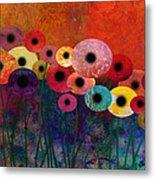 Flower Power Five Abstract Art Metal Print