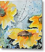 Flower Power- Floral Painting Metal Print by Ismeta Gruenwald