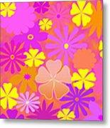 Flower Power Pastels Design Metal Print