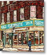 Flower Shop Rue Notre Dame Street Coin Vert Fleuriste Boutique Montreal Winter Stroll Scene Metal Print