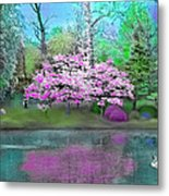 Flower Tree Reflections Metal Print