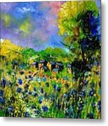 Flowered Village Metal Print