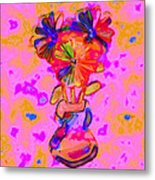 Flowers And Blue Spots Metal Print