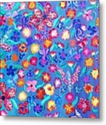 Flowers And Butterflies Metal Print