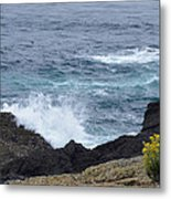 Flowers And Crashing Waves Metal Print