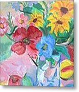 Flowers And Fruits Metal Print by Brenda Ruark