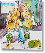 Flowers And Green Apples Metal Print