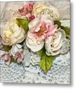 Flowers And Lace Metal Print