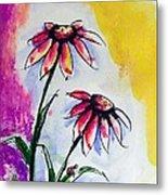 Flowers And Ladybug  Metal Print