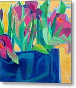 Flowers And Leaves Metal Print by Diane Fine